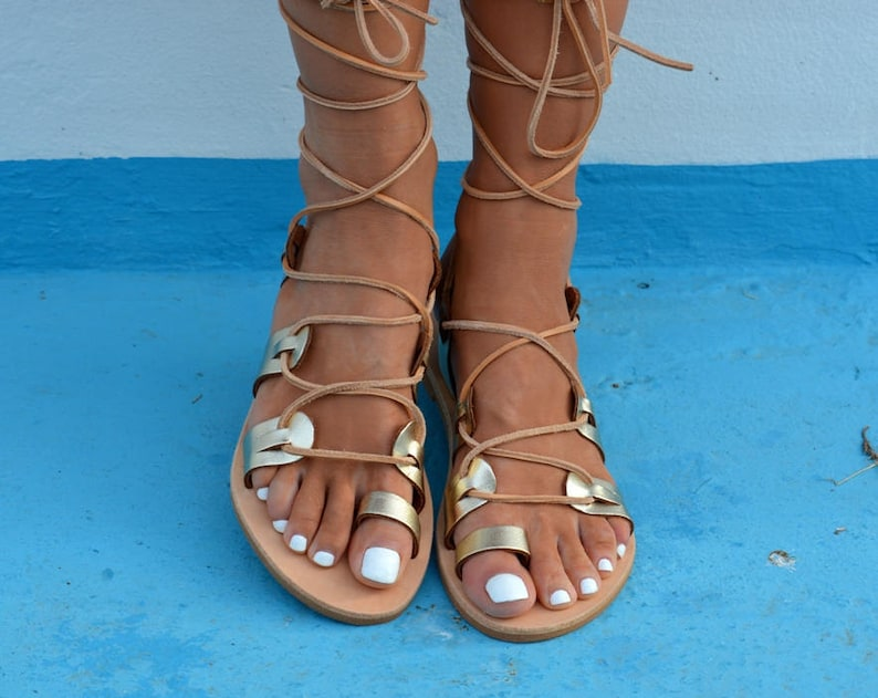 Gold Tie Up Gladiator Sandals Gold Lace Up Sandals Greek