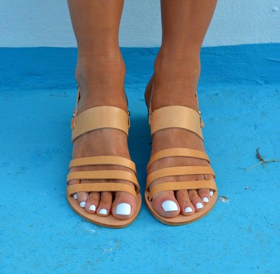 Natural sandals tan Sandals sandals ''Malou'' Greek Ancient leather Greek Slingback Greek sandals 1O1SRrWnq