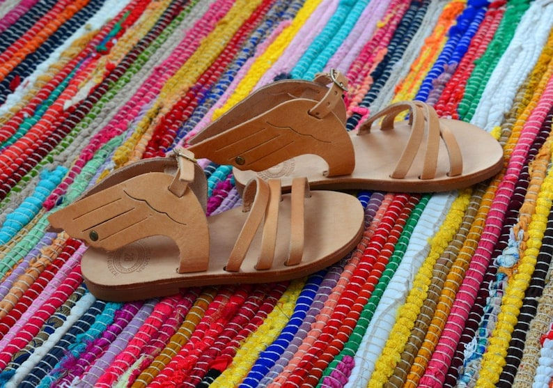 Girls Hermes Sandals Kids Winged Leather Sandals Baby ...
