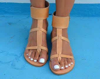 Genuine Greek Leather Sandals, Ankle Wrap Sandals, Bohemian Sandals, Leather Thong sandals. Ancient Greek Sandals ''Myrto'' (Many Colors)