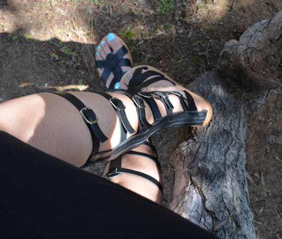 Sandals Gladiator Gladiator Knee Gladiator high ''Elektra'' Sandals sandals Sandals Leather Sandals Tall Black Gladiator Greek Ancient nqPBwYSY