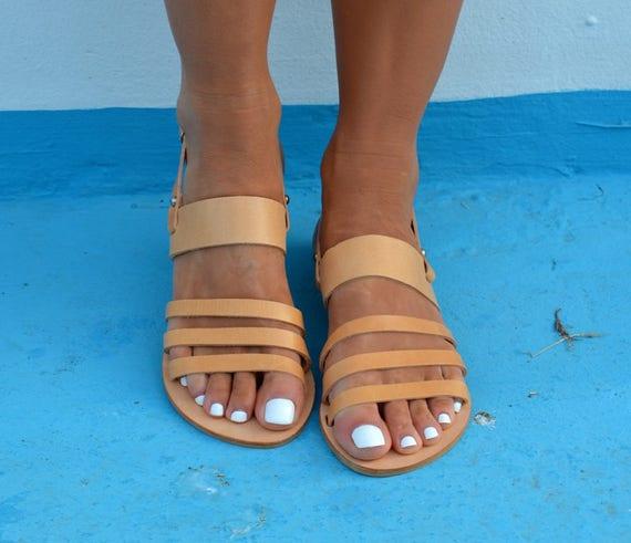 Natural sandals Greek tan sandals sandals Ancient leather Sandals ''Malou'' Slingback Greek Greek Rwa76qrXR