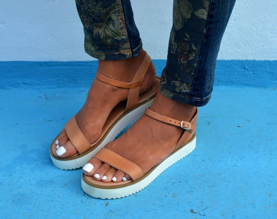 Sandals sandals sandals platform strap leather White sandals sandals sandals 'Stephanie' Summer Greek Ancient Greek Ankle TrqTwg