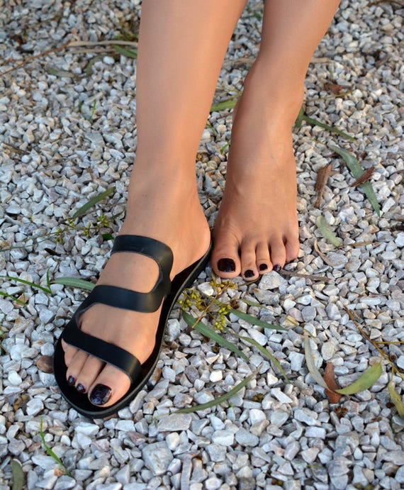 '' sandales sur Noir Black sandales Thasos'' cuir grecques diapositives les sandales sandales noir glisser qB7ZB
