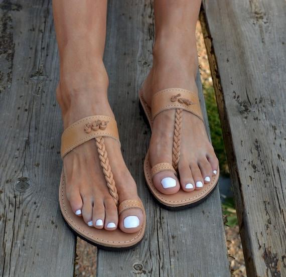 Grecian ''anemos'' SandalsSlip Leather Braided Toe On Ring Sandals Greek Classic Handmade SandalAncient nmOPyvN0w8