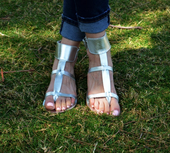 Greek Leather Sandals sandals Leather ''Myrto'' sandals Thong Silver Gladiator Silver Ancient Sandals sandals Cuff Ankle 4xaOBvq
