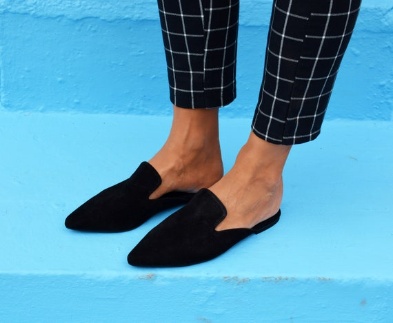 Suede Leather Mules, Pointed Toe Flats, Black leather flats, Leather Slides, Slip On shoes, Mule Shoes, Open heel shoes ''Attiki''