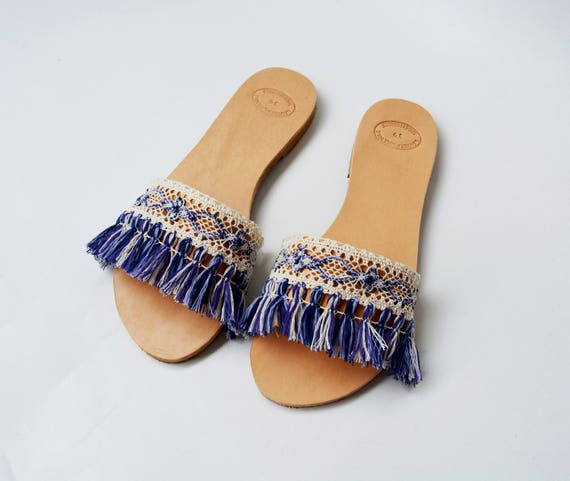Greek sandals sandals Slides Slides slip Boho sandals Blue Tassel Handmade amp; on sandals leather sandals ''Paros'' White Leather wP0nB64xPq