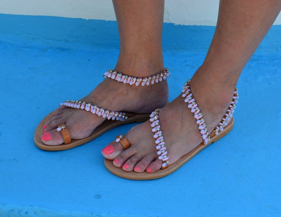 Greek sandals 'Pink sandals rhinestone sandals Wedding Strappy Handmade sandals sandals Luxury leather Pink sandals Salt' Px1gwgfn
