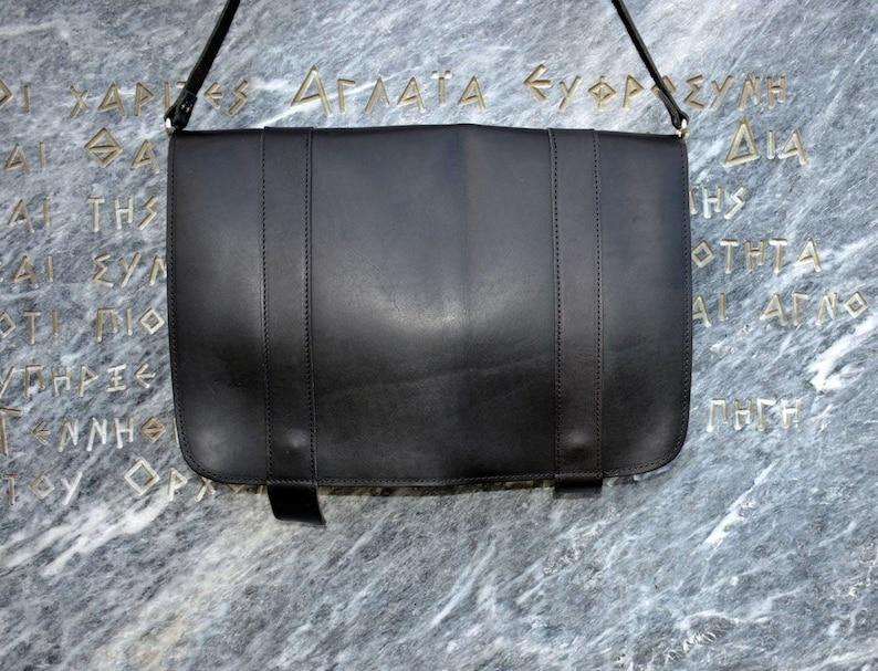 77ee12daa4a4 Black Leather Messenger Bag Leather Briefcase Men Men's | Etsy