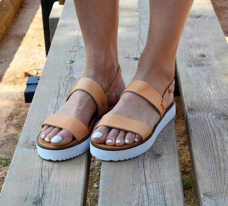 Slingback Sohle Sandalen LedersandalenGriechischen SandalettenWeiße LederschuheUngetrübtGriechische Plateau Sommer DH2EIWY9
