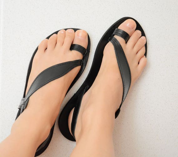 Sandals Black Greek Black Sandals Sandals Leather Greek Black Sandals Premium Leaf sandals Black Slingback ring ''Delia'' Toe wYx6YSrHq