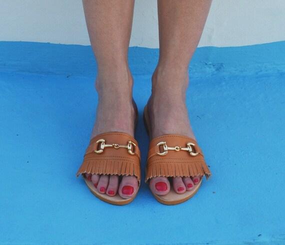 frang cuir cuir diapositives grec en Sandales wFvR7qH06