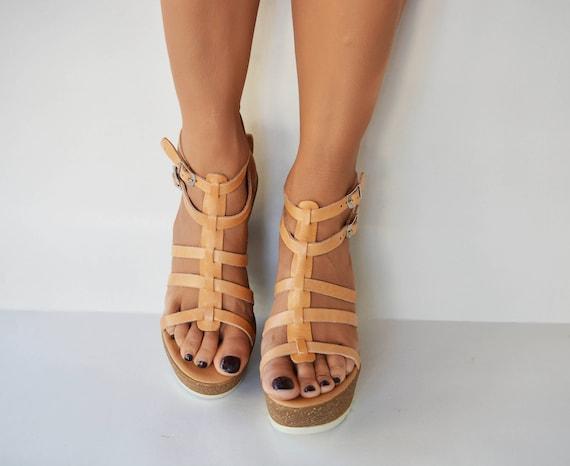 Cork wedge Handmade Greek Platform sandal leather sandals wedge platform sandals Gladiator sandals Leather ''Elsa'' sandals SF8qRTCww