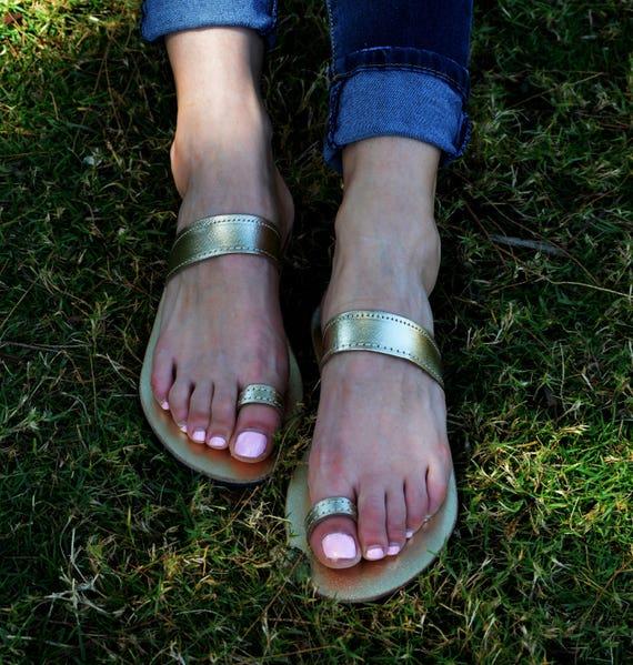 ring Sandals ''Korinna'' Minimal Greek Sandals Leather Gold Strap Sandals Flats Toe Sandals Leather Greek Genuine tfF4q