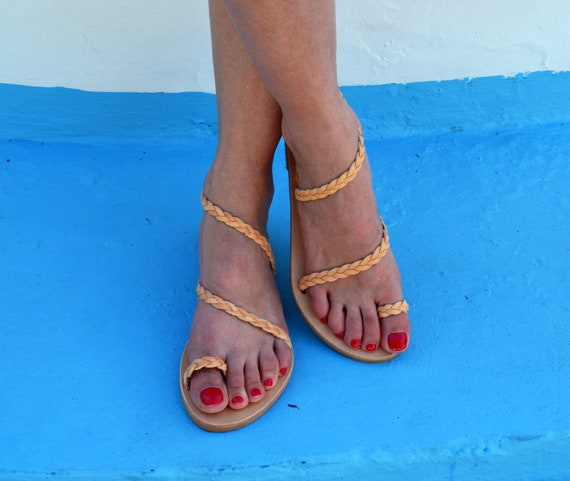 Ancient Greek leather sandals, Braided sandals, Handmade sandals, Strappy sandals, Natural beige sandals, Toe ring sandals