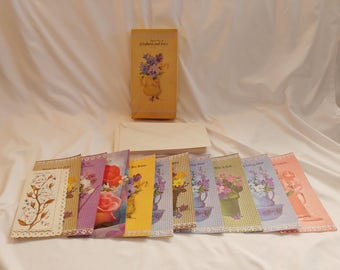 1960s Set of 12 Regent Line Gingham and Lace Get Well Cards