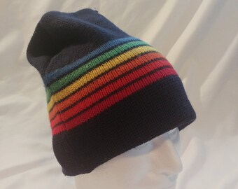 1d597ac036d 1990s Meister Multicolor Rainbow Striped Navy Wool Beanie Hat