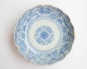 Kintsugi Pottery, Hand Painted Blue and White Bowl, Namasu Bowl, Sengaki, Imari