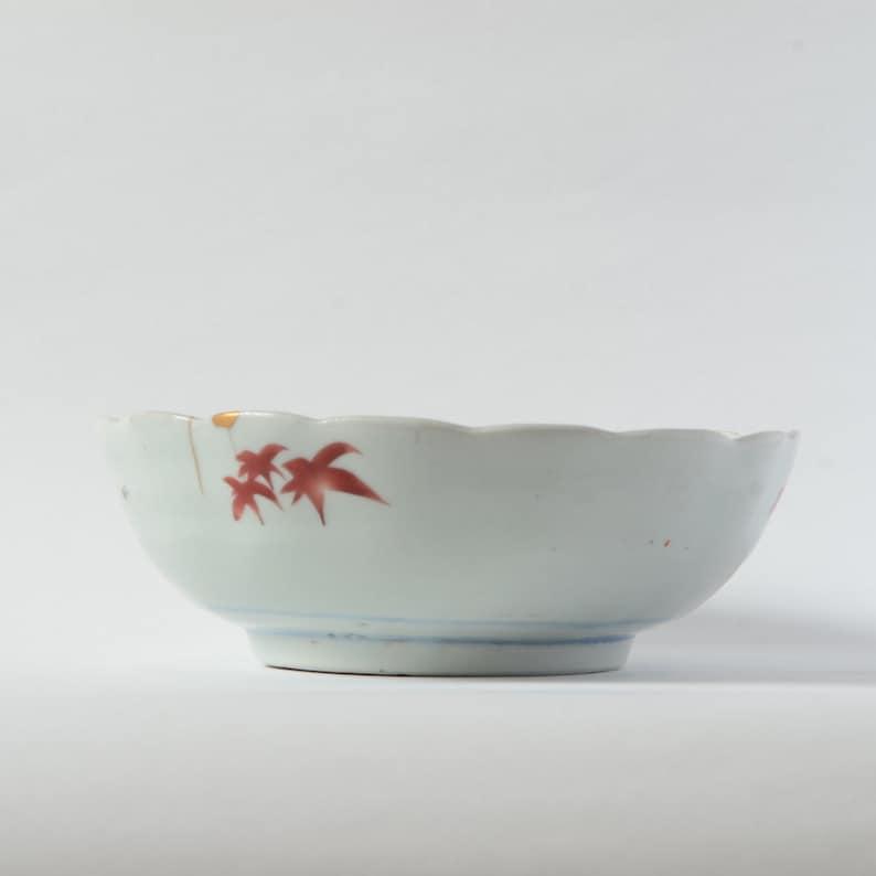 clorful Kintsugi bowl Kintsugi Pottery Real Gold Finish birds and flowers