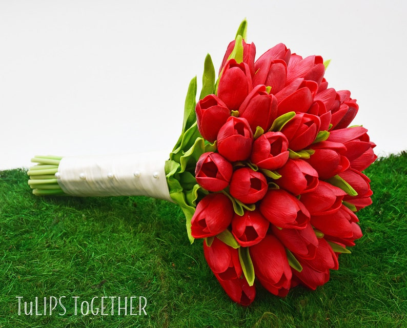 Bridal Bridesmaid Bouquet Red Real Touch Tulip Wedding Bouquet Ready for Quick Shipment 4 Dozen Tulips Customize Your Wedding Bouquet