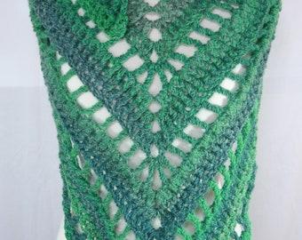 Crochet Boho Scarf & Shawl - Leafy (Shades of Green)