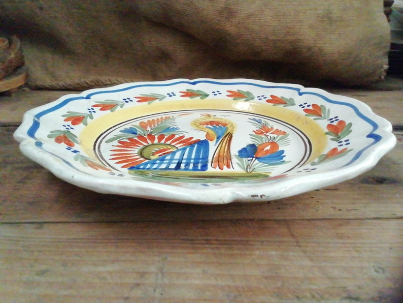 E385 French Antique Quimper Pottery Hand Painted Faience Floral Bird Motif Soup Plate