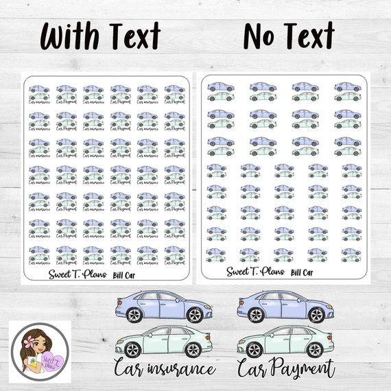 Bill Car Payment Car Insurance Stickers Functional Sticker Etsy