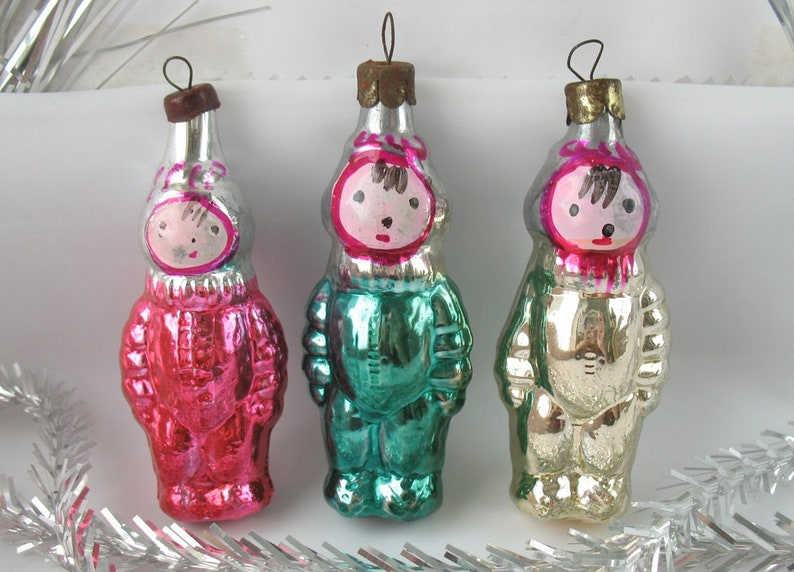 Set 3 Spaceman Vintage Russian Christmas Ornament Astronaut Xmas Pink Green Gold Decor Collection New Year Cosmonaut Tree Decor Soviet Ussr