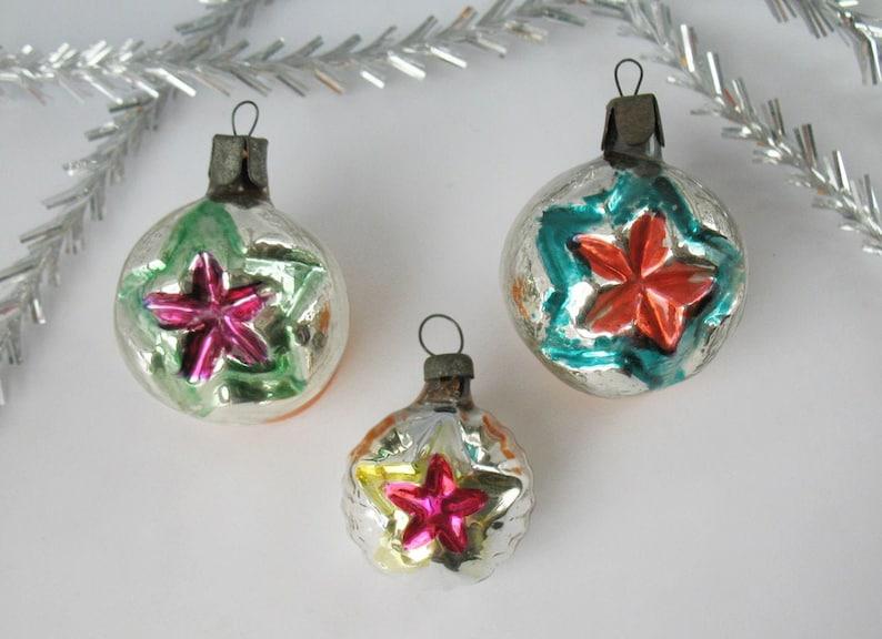 Set 3 Star Glass Vintage Russian Christmas Ornament Propaganda Red Star Xmas Silver Pink Green Decor New Year Toy Tree Decor Soviet Ussr
