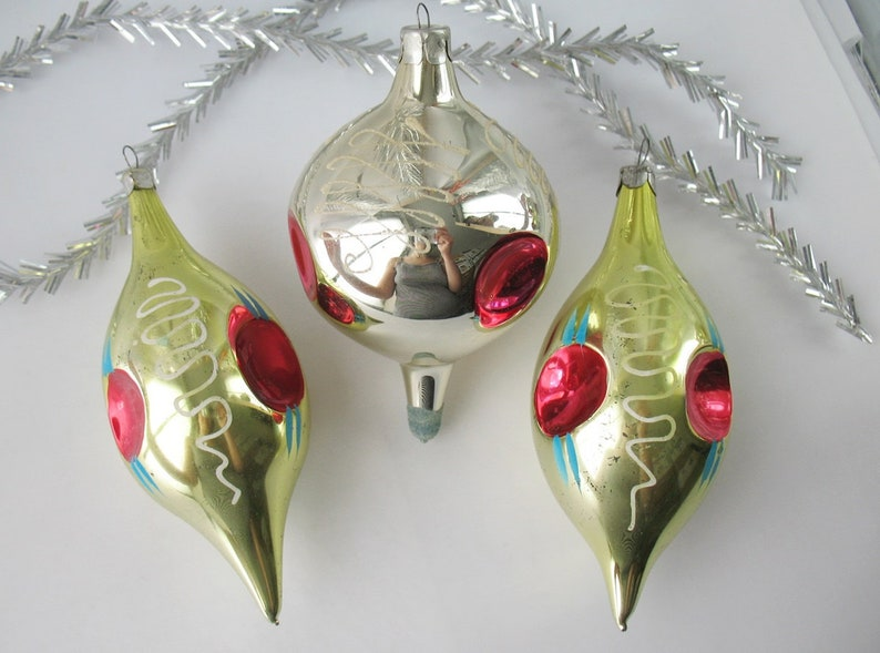 Set 3 Ball Whirligig Glass Vintage Russian Christmas Ornament Icicle Xmas Red Gold Decor Collection New Year Toy Tree Decor Soviet Ussr