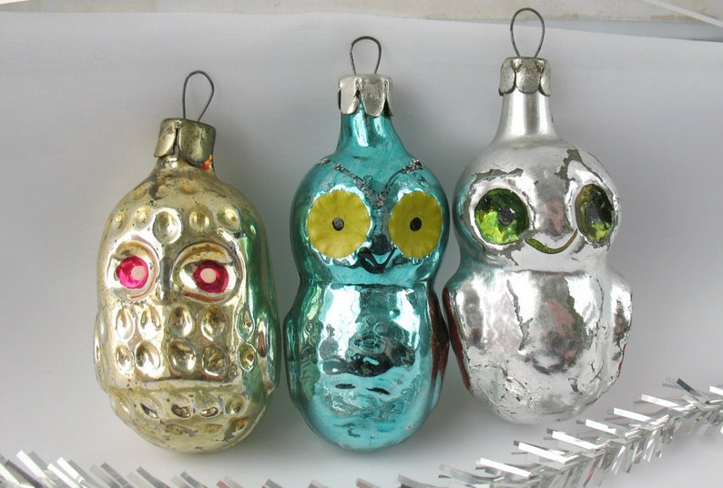 Set 3 Owl Glass Vintage Russian Christmas Ornament Bird Xmas Gold Silver Green Decor Collection New Year Toy Tree Decor Soviet Union Ussr