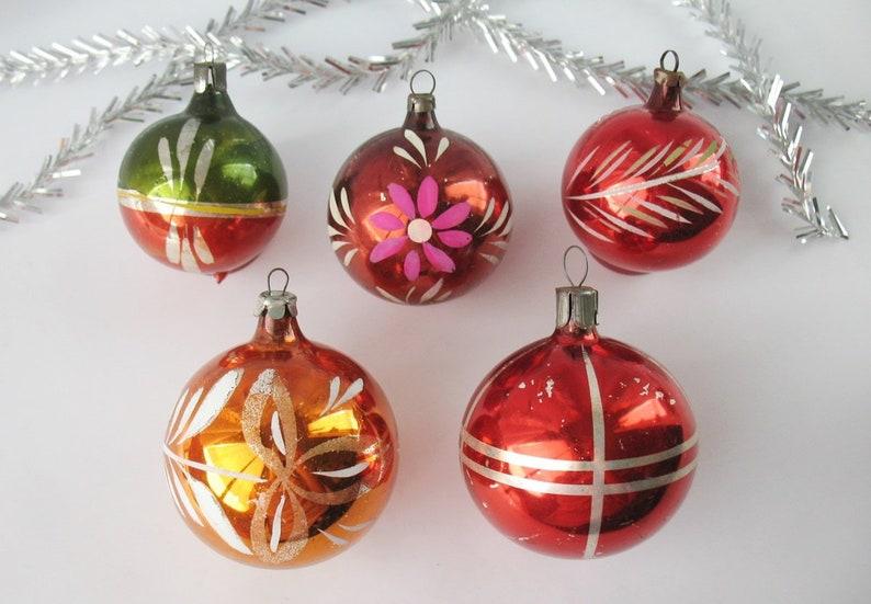 Set 5 Balls Flower Glass Vintage Russian Christmas Ornament Xmas Orange Red Green Decor New Year Tree Decor Soviet Ussr