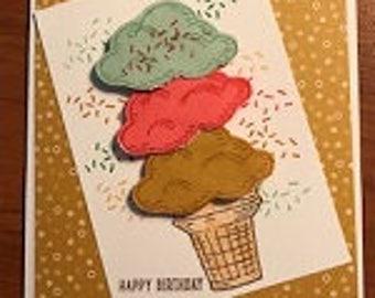 Happy Birthday Ice Cream Cone Greeting Card