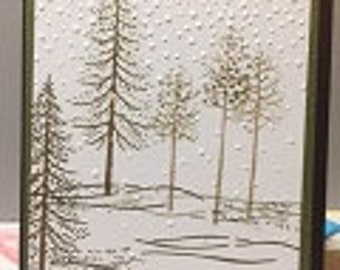 Snowing Winter Trees Card