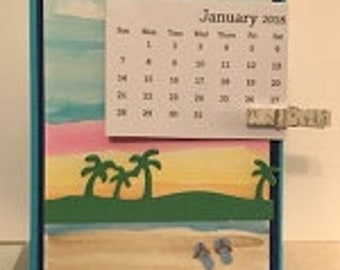 Hand Colored Beach Dual Sided Desktop Calendar