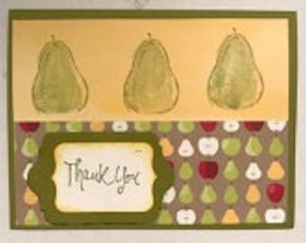 Thank You Pair of Pears Greeting Card and Gift Tag Set