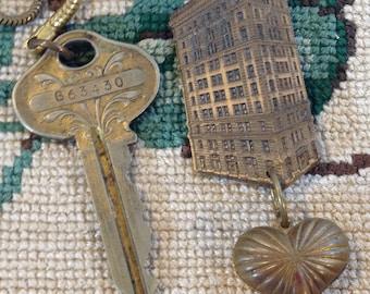 Building Key Heart Necklace Czech Beads Antique Assemblage