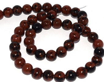 Set of 20, 50 or 100 Perle Obsidienne (snowflake) speckled mahogany (Burgundy and black) 6mm or 8mm natural - Ref: 2141 / 2142