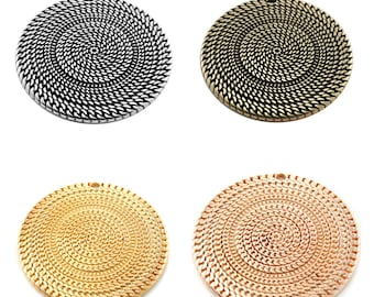 """Round 1, 2 or 5 large pendant 50 mm """""""" chain (engraved) Gold or silver, bronze, gold pink"""