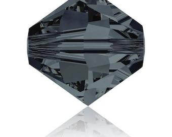 Set of 20-50 or 100 4 mm graphite Swarovski Crystal beads (blue - dark grey) - Ref: 2104