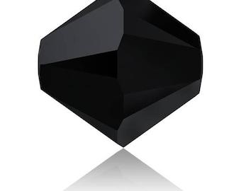 20-50 or 100 4 mm jet Swarovski Crystal beads (opaque black effect) - Ref: 2525