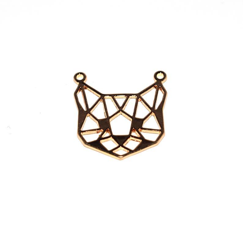 5 10 or 20 Breloque  pendant Silver origami cathead  gold 26x24 mm 2791  2793