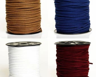 5 - 10 or 20 meter Suede (artificial suede) 3 mm Brown, blue, white or Burgundy