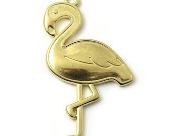 Pink 1, 5 or 10 Flamingo pendant 27x39mm golden metal (metal yellow gold)