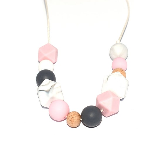 grey and beige NF-71 Kit DIY nursing necklace  carrying hexagonal beads silicone and natural wood CE standards marble