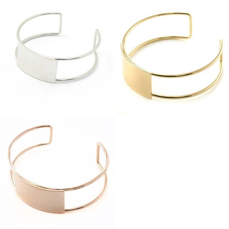 cuff bracelet rope flat metal 2 61 x 20 mm silver Eco slave rose gold bracelet gold