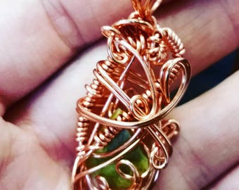 Delicate copper wire wrap calcite crystal pendant