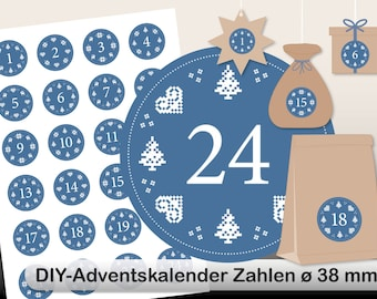 DIY Advent Calendar norwegian digital sheet blue