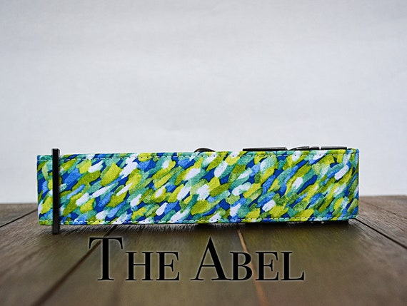 Blue and green brush strokes spring dog collar